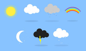 纯CSS3实现扁平天气图标动画效果代码