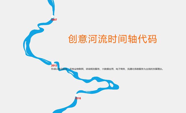 css3绘制流动的河流时间轴特效