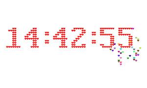 html5 canvas爱心组成数字时钟代码