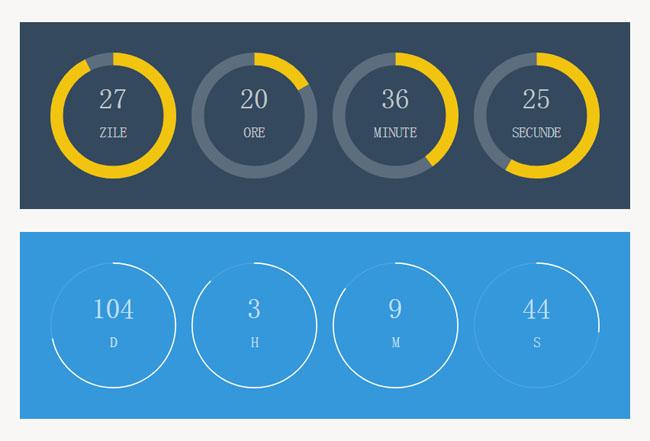 html5多款圆形进度条倒计时特效