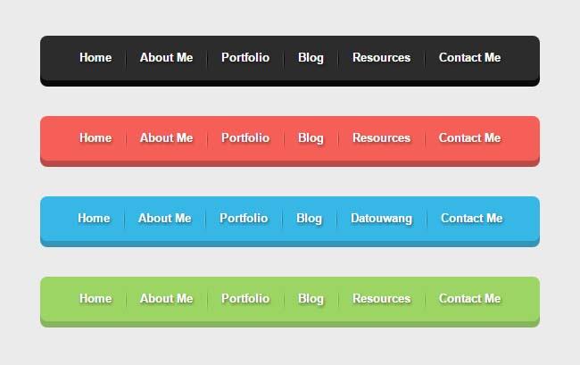 4种不同的纯css3网站导航特效
