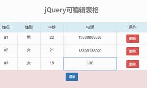 jquery可编辑表格插件兼容手机端