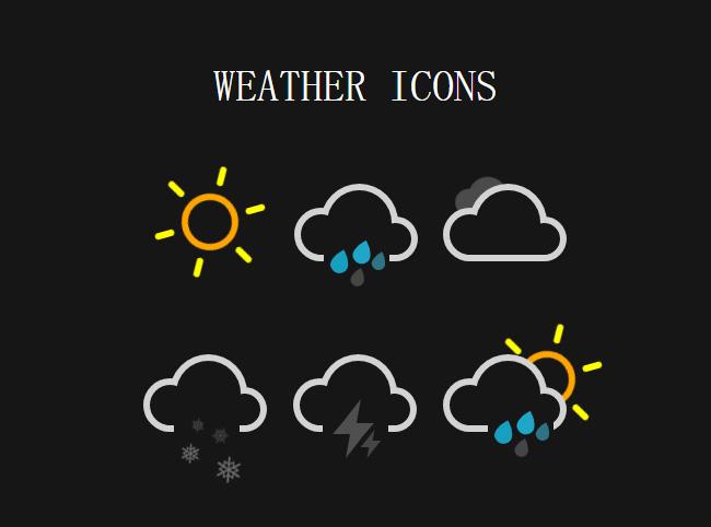 纯css3天气图标卡通动画特效