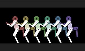 html5 canvas机器人跳舞动画特效