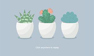 html5 svg卡通盆栽植物动画特效