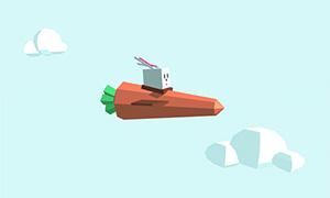 html5 svg萝卜火箭云中穿梭动画特效