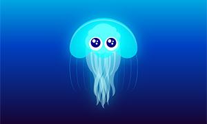 纯css3蓝色的水母动画特效