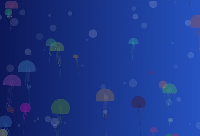 html5 canvas水母上升背景特效