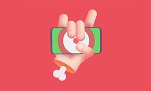 纯css3制作手指拿着手机摇晃动画特效