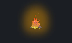 纯css3制作一堆木柴燃烧动画特效