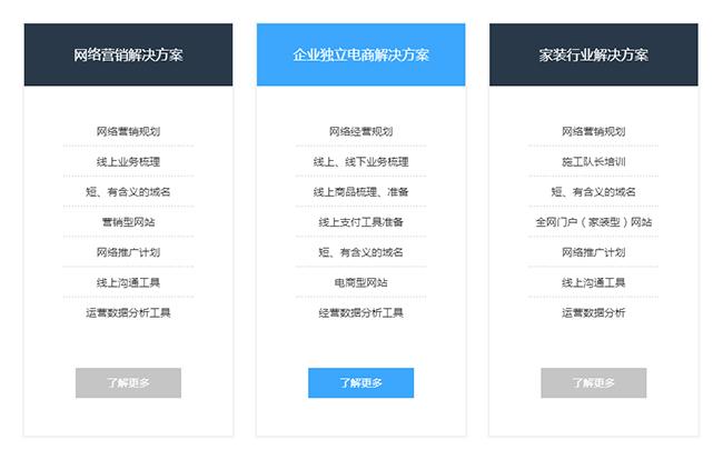 jquery网站建设解决方案项目列表代码