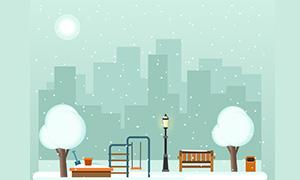 纯css3雪花公园场景动画特效