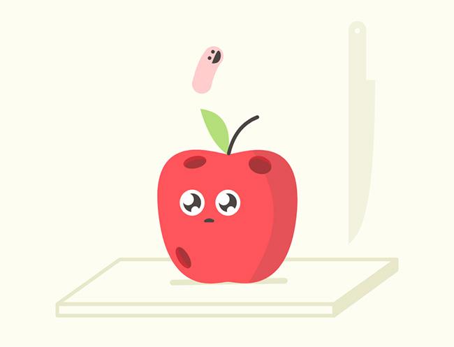 css3 svg苹果虫子跳跃动画特效