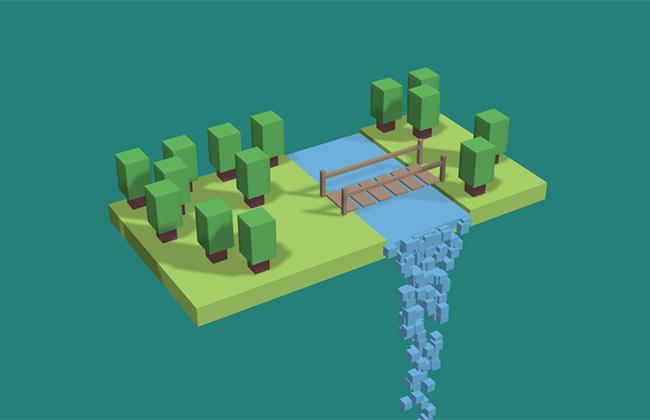 three.js积木模型森林瀑布流动特效