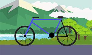 css3自行车走动动画场景特效