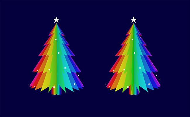 js+css3旋转的圣诞树动画特效